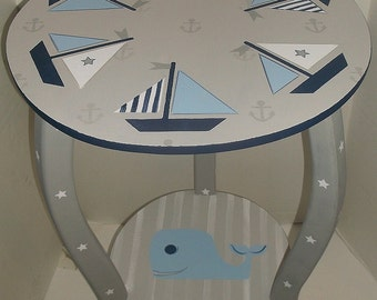 Sailboats, Kids Furniture, Nautical, Nursery Tables, Round, Whales, Anchors, Cottage Table, NIGHTSTAND, Side Table