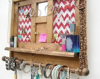 Jewelry Organizer with Mirror, Jewelry Organizer, Dorm Room Jewelry Organizer, Chevron Jewelery Organizer, Rustic