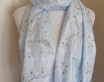 """SALE!! Beautiful Pale Blue Fringe Shawl Wrap or Scarf - 24"""" x 58"""" Long  - Affordable Scarves!!!"""