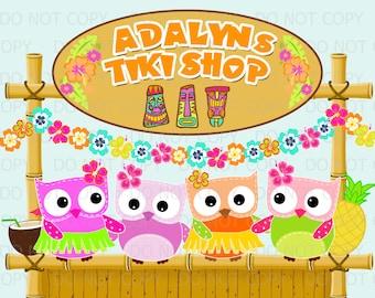 Printable PERSONALIZED Owl Luau Lu-Owl Tiki Shop Wall Art Welcome Birthday Sign 11x14