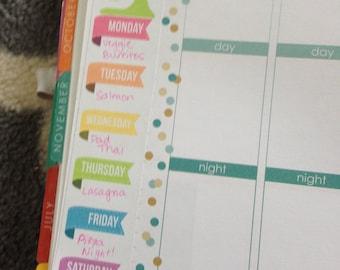 PRINTABLE Weekly Menu Planning Sidebar for Erin Condren Life Planner