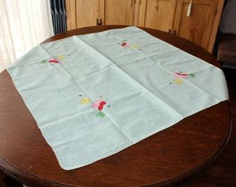 Linen Tablecloth Tea Cloth Applique Embroidery Mint Green 32 x 32