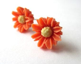 Coral Flower Studs Dainty Post Earrings Coral Earrings Floral Jewelry