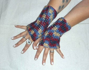 The Americana Fingerless Gloves Handmade Crocheted Heritage Red Mustard Navy Blue Old Glory Victorian style Country Cowgirl Arm Warmers Boho