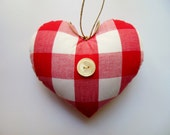 Red and White GINGHAM HEART Ornament * Heart * Country Cottage Heart * Red and White Little Pillow Heart * Gingham * French Cottage