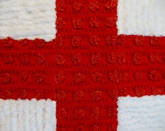 """RED and WHITE Vintage Cotton CHENILLE Handcrafted Soft Pillow 16"""" x 16"""" Cross Pattern"""