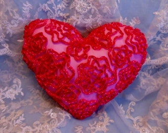 ROSE ~ Romantic Frilly Soft Lace Heart Pillow ~ Chic Country Cottage ~ Bright PINK Chiffon ~ Wedding Bridal  ~ Floral
