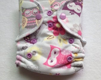 Newborn and Preemie Hybrid Fitted Cloth Diaper Pastel Owls