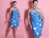 RESERVED 1950's Hawaiian Electric Blue & White Floral Cotton Hourglass Draped Sarong Dress w FOUR Way Straps by The Hawaiian Shop of Chicago