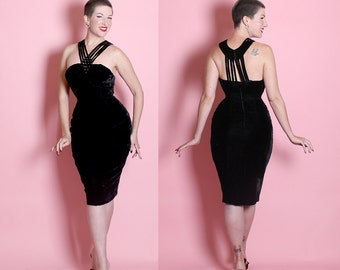 KILLER Early 1960's Velvet Extreme Hourglass Cocktail Dress w Reverse Halter Rhinestone Cage Neckline by Frederick's of Hollywood - Rare - M