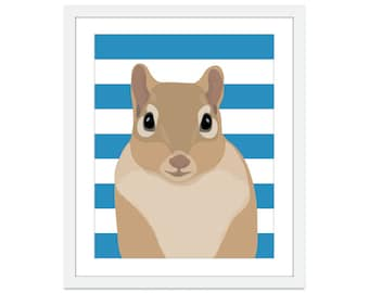 Squirrel Art Print - Squirrel Nursery Art - Woodland Nursery Decor - Blue Stripes - Forest Nursery Decor - Squirrel Illustration - Poster