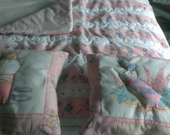 Beatrix Potter Baby quilt and 2 pillows