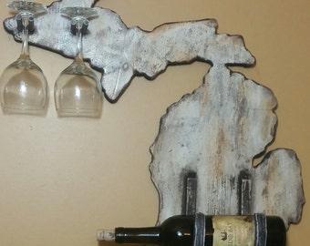 Rustic Wood Michigan Wine Rack