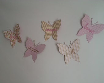 Pink and Gold 3D Wall Butterfly Words or Letters - set of 5 you pick the colors