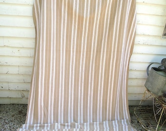 Large Length of Vintage French Cotton Ticking 3 1/2 Yards