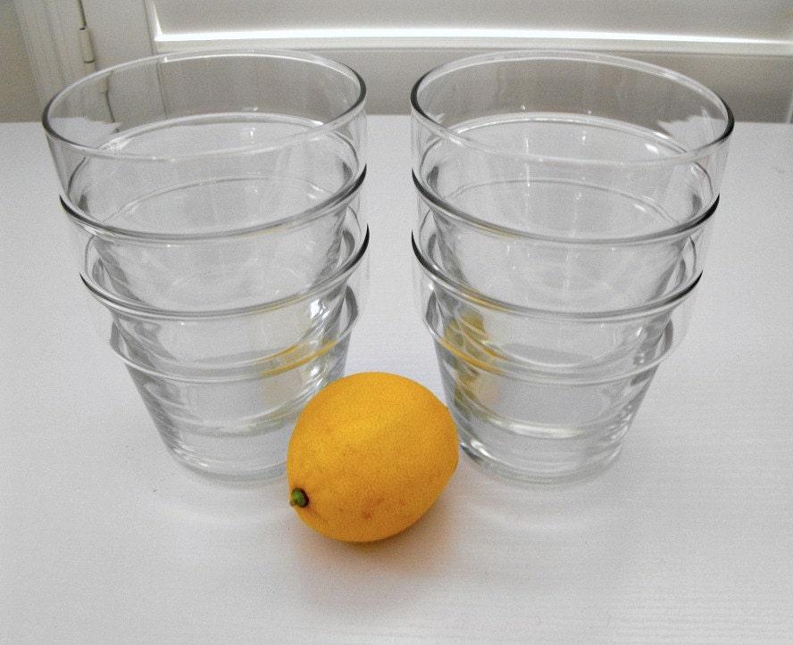 Vintage SIX Clear Glass Flower Pot Lemonade or Ice Tea Glasses