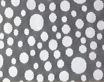 White Mixed Polka Dot Jacquard Lace, 1 Yard