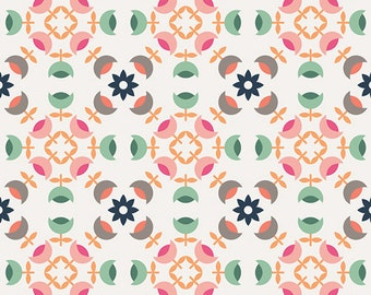 Mint Pink Navy and Coral Geometric Circle Cotton Fabric, Curiosities by Jeni Baker for Art Gallery Fabrics, Heritage Medals in Klar, 1 Yard