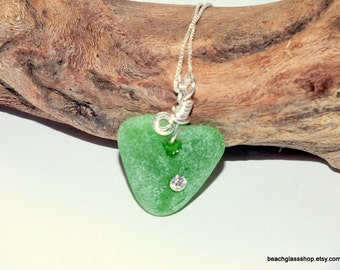 Green Sea Glass Necklace - Sterling Necklace - Heart Necklace - Lake Erie Beach Glass