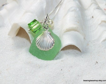 Sterling Beach Glass Necklace - Sea Glass Jewelry - Lake Erie Beach Glass Necklace