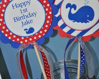 Nautical 1st Birthday Centerpiece Sticks - Boys 1st Birthday - Nautical Birthday Party Decorations - Whales and Anchors - Set of 4