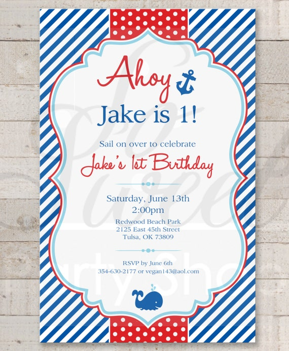 nautical st birthday invitations  boys st birthday invitations, Birthday invitations
