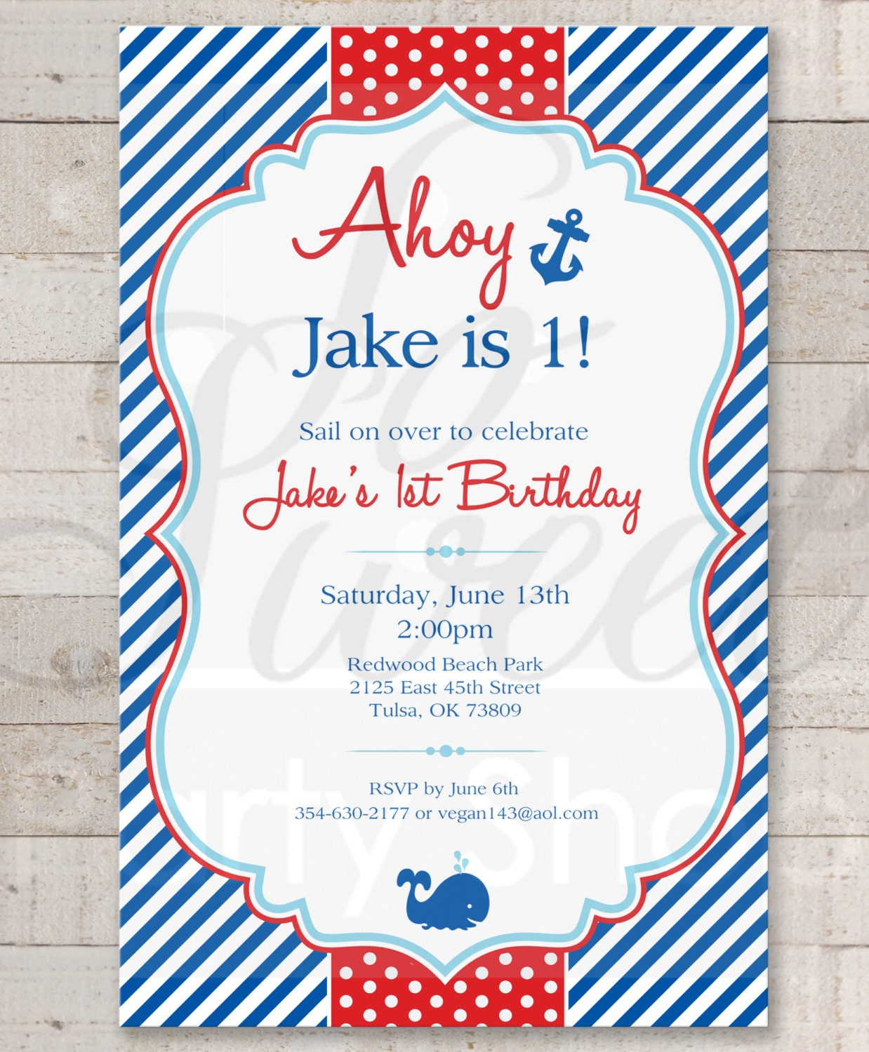 Nautical 1st Birthday Invitations Boys 1st Birthday