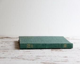 vintage XVII century paintings green hardcover book