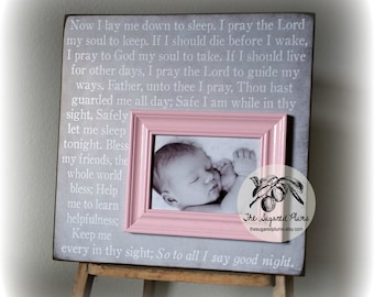 Baby Picture Frame, Baby Girl Gift, Goddaughter, Godson, Baptism, First Birthday, Now I Lay Me Down To Sleep,16x16 The Sugared Plums Frames