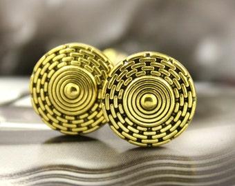 Metal Buttons - Maze Shield Antique Gold Metal Shank Buttons - 0.71 inch - 6 pcs