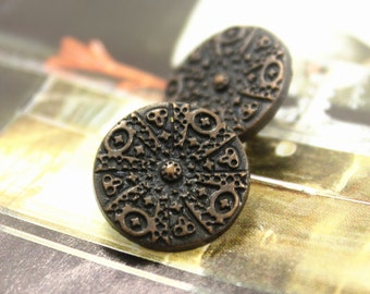 Metal Buttons - Fireworks Pattern Metal Buttons , Copper Color , Shank , 0.59 inch , 10 pcs