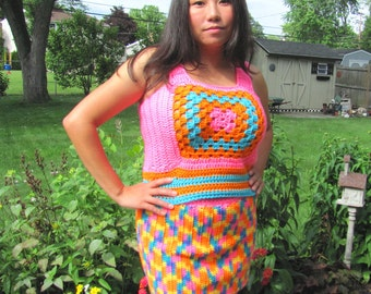 Handmade Crochet Sweater Vest 60s Mod 70s Funky Psychedelic Granny Square Womens Small Petite Size S/XS Easter Neon Orange Pink Turquoise