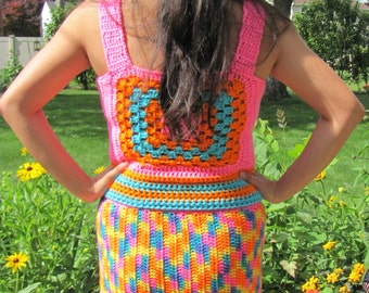 Handmade Crochet Pencil Skirt 60s Mod 70s Super Easter Funky Psychedelic Womens Crochet Clothing Neon Rainbow Pride Small Petite Size S/XS