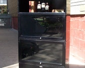 Vintage Globe Wernicke Barrister or Lawyers Metal and Glass Bookcase on Legs / 3 Section Bookcase / Black