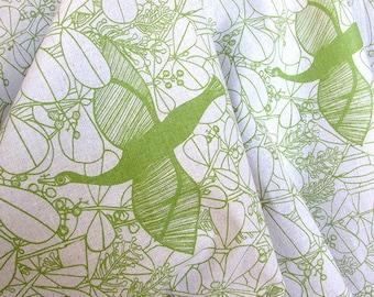 50% OFF Handprinted Bird in Pardise in Green on organic cotton & hemp