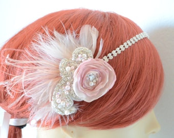 READY TO SHIP Blush and Dusty Rose Bridal Flower headband, Rhinestone headband, 1920s, Gatsby, Pearl, rhinestones, Peacock feather, feather