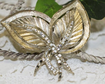 Vintage Brooch, Pin, Two Gold Leaves, Small Clear Rhinestones      -     G