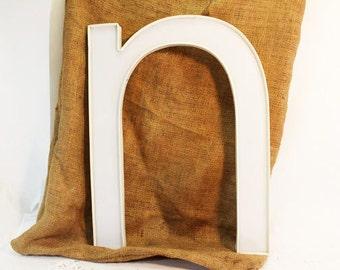 White letter 'n' in lower case plastic