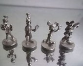 4 Miniature PEWTER MICKEY & Minnie Mouse Donald Duck Goofy DISNEY 4 figurines  Licensed