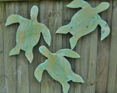 Set Of 3 Rustic Wooden Sea Turtles, Beach-y, Beach House Decor, Nautical Wall Hanging