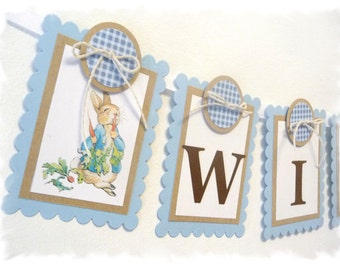 PETER RABBIT Child Name Banner - 9 panels - Customizeable - KIT Style or PreAssembled