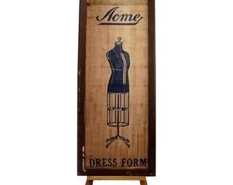 Acme Dress Form Mannequin Box Advertising Vintage Antique Box Steampunk Retail Store Flea market Antique Shop