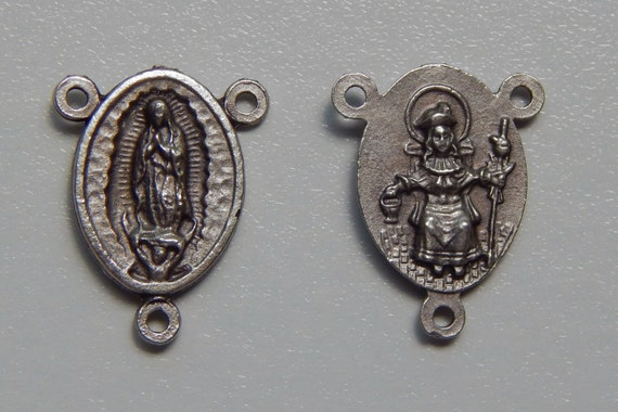 5 Rosary Center Piece Findings, Our Lady of Guadalupe, Divine Nino, Silver Color Oxidized Metal, Rosary Center, Made in Italy, RC315