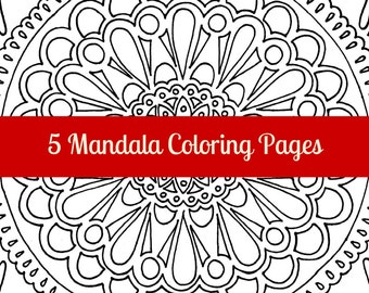 FIVE Mandala coloring pages, adult coloring, colouring book