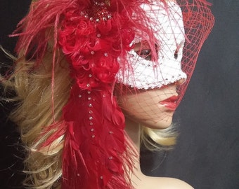 Masquerade Mask,Red Peacock Feather Mask, Red White Crystal Mask, Mask With Birdcage Veil Blusher