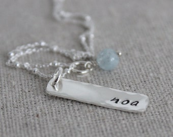 custom name tag and birthstone | hand stamped mothers necklace | push present | new mom gift | one name | 1 name | kids name necklace
