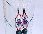 Huichol Inspired, Beaded Ojo de Dios, Diamond Eye Earrings with Silver Hooks