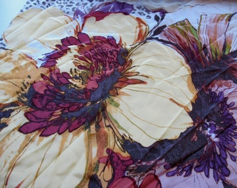 SALE Big Floral Silk Scarf garden of delight