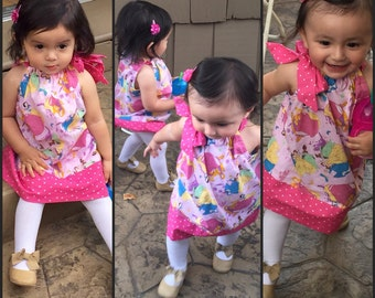 Pink DIsney Princess dress  SALE 10% off coupon is tilfeb pillowcase dress  Disney clothing 3,6,9,12,18 month 2t,3t,4t,5t,6,7,8,10,,12