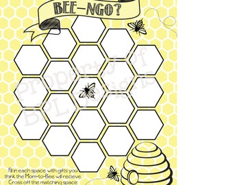 Bee Baby Shower Party Game  -  PRINTABLE- INSTANT DOWNLOAD